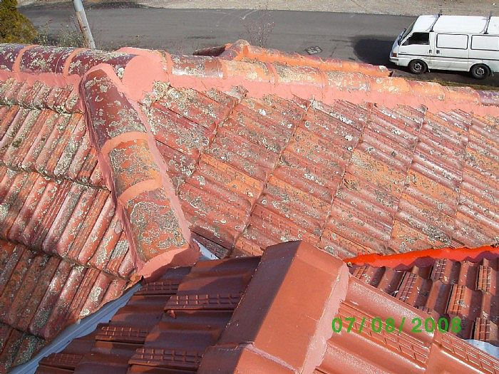 Restored tile roof at Katoomba